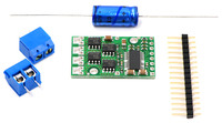Pololu high-power motor driver and included components.
