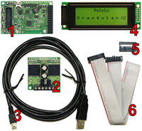 Components included in the Pololu Orangutan X2 Robot Controller with LCD.
