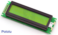 16x2 Character LCD with LED Backlight (Parallel Interface), Black on Green