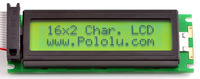16×2 black-on-green character LCD with backlight (backlight off).