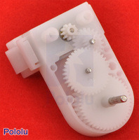 Pololu mini plastic gearmotor offset output with opened gearbox.