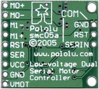 Pololu Low-Voltage Dual Serial Motor Controller back view.