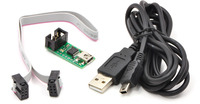 Pololu USB AVR programmer with included six-pin ISP cable and USB A to mini-B cable.