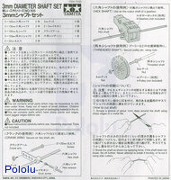 Instructions for Tamiya 70105 3 mm diameter shaft set page 1.
