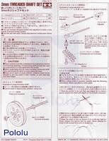 Instructions for Tamiya 70171 3 mm threaded shaft set.