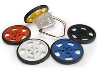 "SW 2-5/8"" Servo Wheel with molded silicone tires and encoder stripes; all color options shown."