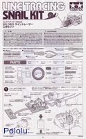 Instructions for Tamiya 75020 Line Tracing Snail Kit page 1.