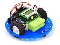 "Pololu 5"" round robot chassis RRC04A with a QTR sensor array and a Sharp digital distance sensor."