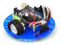 "Pololu 5"" round robot chassis RRC04A with an Arduino Duemilanove and a QTR sensor array."
