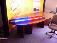 A display made of 32 ShiftBrite modules, used to display real-time data.