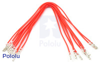 "Wires with Pre-crimped Terminals 10-Pack F-F 6"" Red"