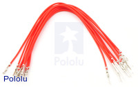"Wires with Pre-crimped Terminals 10-Pack M-F 6"" Red"