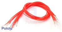 "Wires with Pre-crimped Terminals 10-Pack M-F 12"" Red"