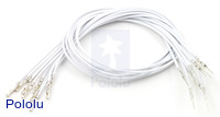 "Wires with Pre-crimped Terminals 10-Pack M-F 12"" White"