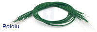 "Wires with Pre-crimped Terminals 10-Pack M-M 12"" Green"