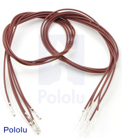 "Wires with Pre-crimped Terminals 5-Pack M-F 24"" Brown"
