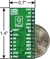 A4983/A4988 stepper motor driver carrier with voltage regulators with dimensions.