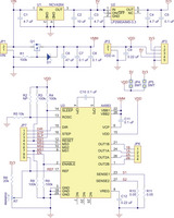 Schematic diagram of the md09a A4983 stepper motor driver carrier with regulators.