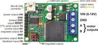 Pololu jrk 12v12 USB motor controller with feedback, labeled top view.