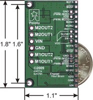 Dual MC33926 motor driver carrier with dimensions.