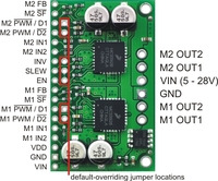 Dual MC33926 motor driver carrier, labeled top view.