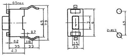 Pololu 1400 Mini Pushbutton Switch: PCB-Mount, 2-Pin, SPST