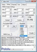 The Mini GPS application setup tab allows you to configure the LS20031 GPS receiver module.