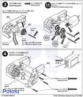 Instructions for Tamiya mini motor gearbox (8-speed) kit page 2.
