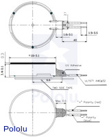 Dimension diagram (in mm) for the shaftless vibration motor 10×3.4mm.