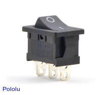 Rocker Switch: 3-Pin, SPDT, 10A
