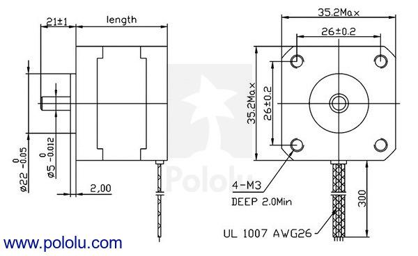 Stepper Motor: Bipolar, 200 Steps/Rev, 35×26mm, 7 4V, 0 28 A