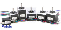 Bipolar stepper motors; from left to right: 20×30, 28×32, 28×45, 35×26, 35×28, 35×36mm.