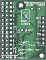 Bottom view of Mini Maestro 12-channel USB servo controller.