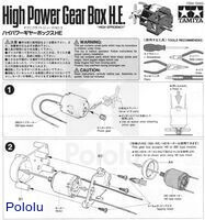 Instructions for Tamiya high-power gearbox page 1.