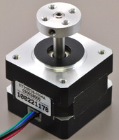 5mm Pololu universal aluminum mounting hub on a stepper motor with a 5mm output shaft.