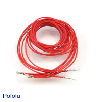 "Wires with Pre-crimped Terminals 5-Pack M-F 36"" Red"