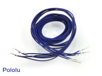 "Wires with Pre-crimped Terminals 5-Pack M-F 36"" Blue"