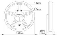 Mechanical drawing of Pololu wheel 60×8mm without tire.