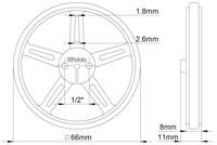 Mechanical drawing of Pololu wheel 70×8mm without tire.