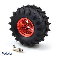 Dagu Wild Thumper wheel 120×60mm (metallic red) with included 4mm hub adapter.