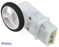 Mini plastic gearmotor 90-degree 3mm D-shaft output with Pololu 32×7mm wheel.