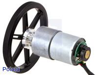 37D mm metal gearmotor with 64 CPR encoder and Pololu 90×10mm wheel.