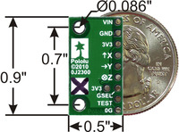 MMA7361L 3-axis accelerometer with voltage regulator, bottom view with dimensions.