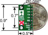 MMA7341L 3-axis accelerometer with voltage regulator, bottom view with dimensions.