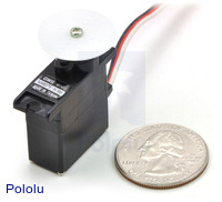 GWS NARO+ F HP BB micro servo with U.S. quarter for size reference.