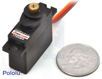 Power HD high-speed mini servo HD-1705MG with U.S. quarter for size reference.