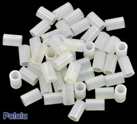 Nylon Spacer: 8mm Length, 5mm OD, 3.3mm ID (50-Pack)
