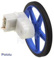 Mini plastic gearmotor offset 3mm D-shaft output with Pololu wheel.