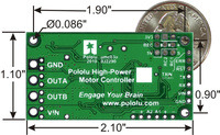Simple High-Power Motor Controller 18v15 or 24v12 bottom view with dimensions.
