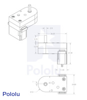 Dimensions (in mm) of the 120:1 and 180:1 mini plastic gearmotors with offset 3mm D-shaft outputs.